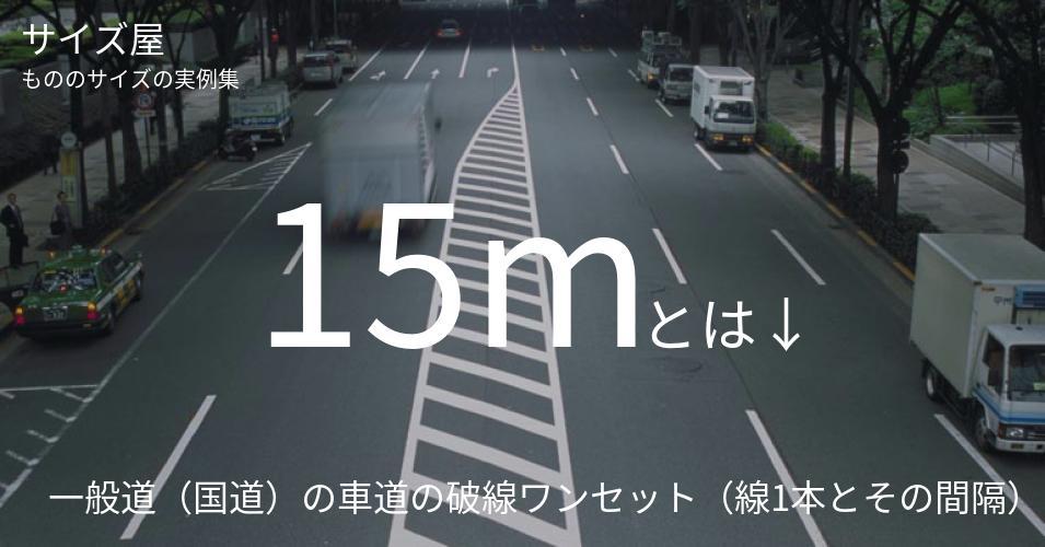 15mとは「一般道(国道)の車道の破線ワンセット(線1本とその間隔)」くらいの高さです