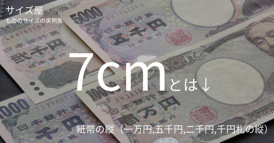 7cmとは「紙幣の縦(一万円,五千円,二千円,千円札の縦)」くらいの高さです