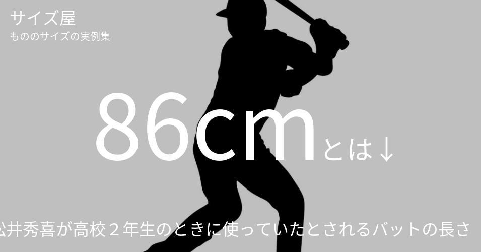 86cmとは「松井秀喜が高校2年生のときに使っていたとされるバットの長さ」くらいの高さです